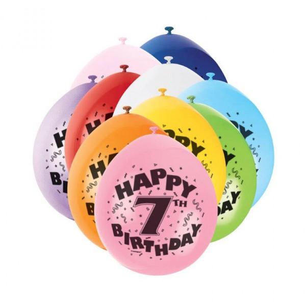 Bunte Luftballons für 7.Geburtstag - Zahlenluftballons