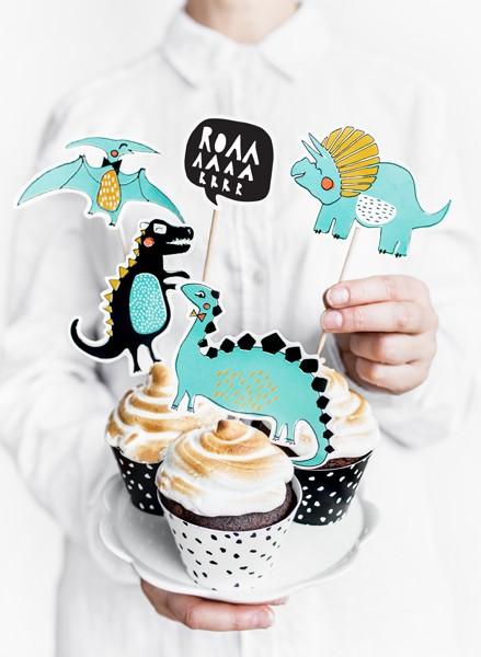 """Beispieldekoration - Cupcake-Topper """"Dinoparty"""" - 10-20 cm - 5 Stück - Kuchendekoration"""