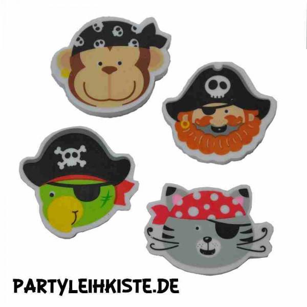 Radiergummi Piratenbande 4er Set Mitgebsel Kindergeburtstag