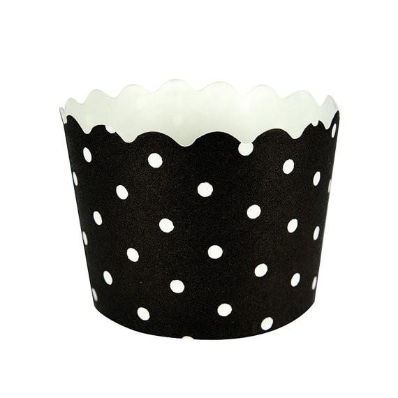 """Muffin- und Cupcake Förmchen in schwarz """"weisse Punkte"""" 12er Pack"""