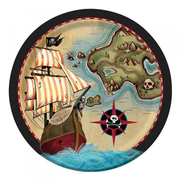 Pappteller Piratenschatz 8er Pack - Partyteller online kaufen