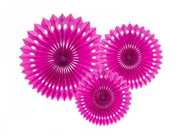 Rosetten-Set - dark pink - 3-teilig