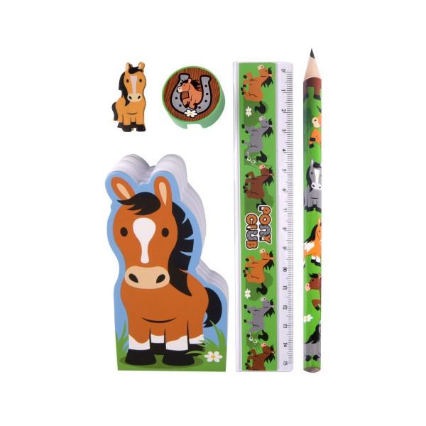 Schreibset Pferd - mit Bleistift, Radiergummi, Spitzer, Notizblock und Lineal