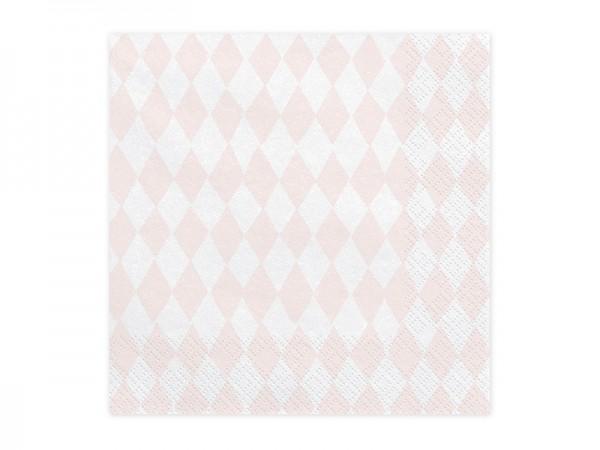 Servietten mit Rautenmuster - rosa - 20 Stück - Papierservietten