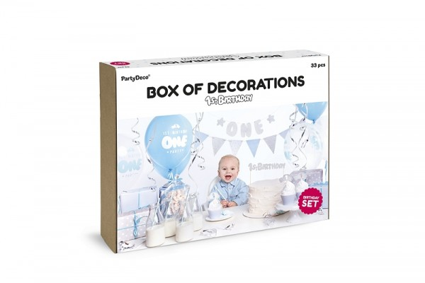 party deko set 1 geburtstag junge 33 teilig baby. Black Bedroom Furniture Sets. Home Design Ideas