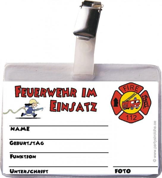 Ausweis Feuerwehr inkl. Hülle + Clip für Feuerwehr Partys