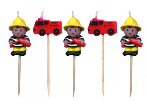5 Minikerzen Feuerwehr