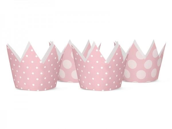 Prinzessinnen-Partykronen mit Punkten - rosa - 4 Stück