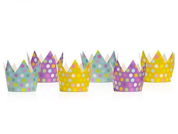 Partykronen mit bunten Punkten - 6 Stück