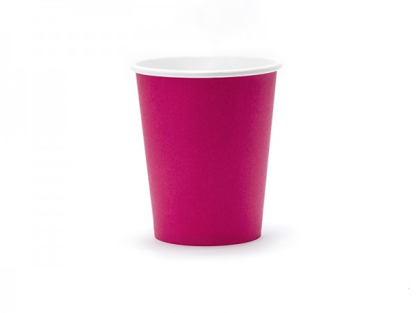 Pappbecher - dunkles pink - 260ml - 6 Stück - Einwegbecher