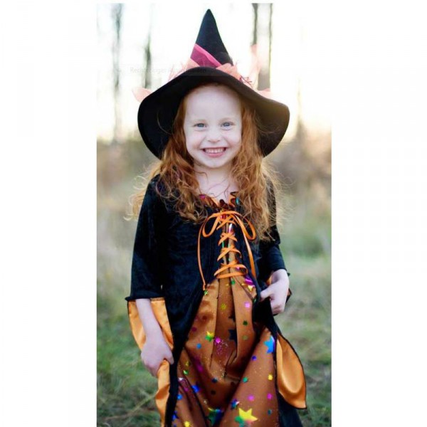 Hexenkleid schwarz-orange mit Sternen für Kinder