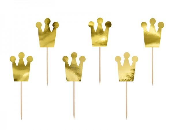 "Cupcake-Topper ""Krone"" - gold - 6 Stück - Prinzessin Cupcakes"