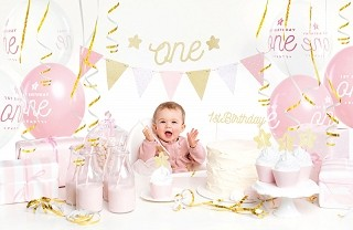 Party Deko Set 1 Geburtstag 33 Teile Baby One Rosa Gold 1