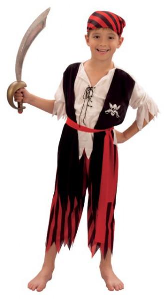 Piraten Kostüm für Kinder 4 teilig mit Koptuch, Oberteil, Hose und Guertel
