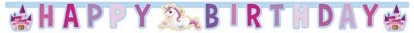 """Girlande Einhorn """"Happy Birthday"""" 185 cm - Unicorn Kindergeburtstag Mitgebseltütchen"""