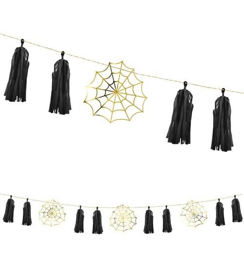DIY-Papiergirlande mit Spinnennetzen und Tasseln - 1,75 m - Halloween