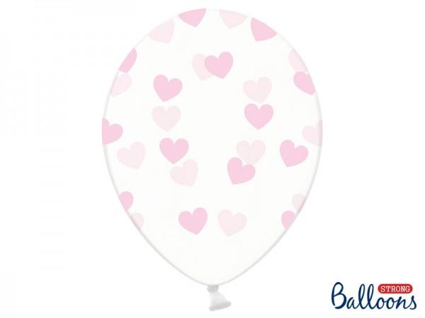 """Luftballons """"Rosa Herzen"""" - transparent - 6 Stück"""
