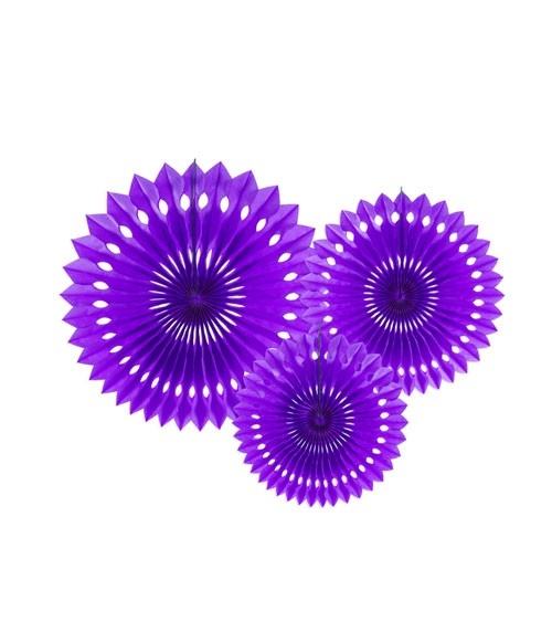 Rosetten-Set - violett - 3-teilig - Partydekoration