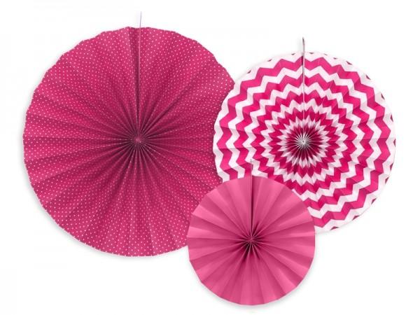 Rosetten-Set - pink - 3-teilig - Partydekoration
