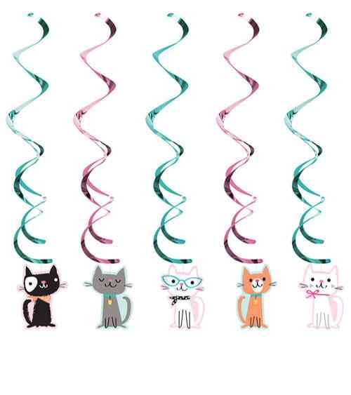 """Deckenhänger """"Kätzchen Party"""" 5-tlg. - Spiralgirlande Katzen Schnurrparty Deko"""