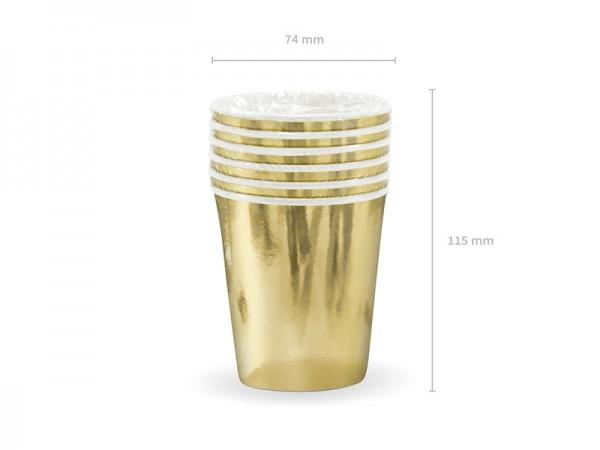 Pappbecher - metallic gold - 200 ml - 6 Stück - Einwegbecher