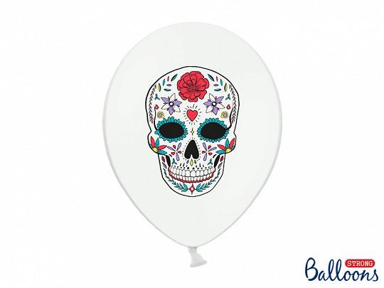 "Luftballons ""Dia de los Muertos"" Weiß - 6 Stück - Halloween"