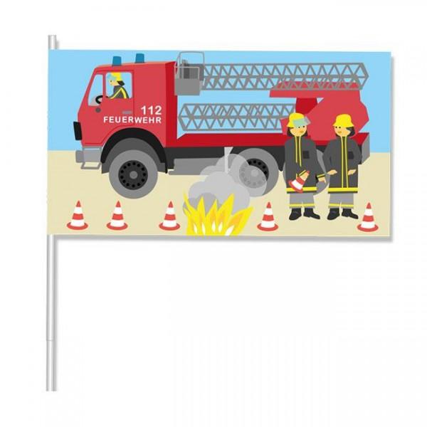 """Papier-Flagge """"Feuerwehr"""" 8er Pack - Feuerwehrparty Mitgebsel"""