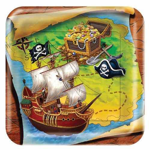 """Pappteller Piraten Schatzsuche """"Schatzinsel"""" 8 Stück für Piraten Kindergeburtstag"""