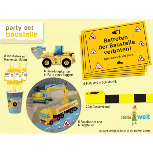 Partyset Baustelle Für 8 Kinder   Teller, Becher, Einladungen, Deko