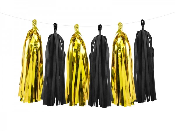 DIY Tassel-Girlande - metallic gold/schwarz - 1,5 m - Partydekoration