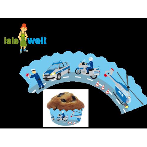 """12 Deko-Banderolen für Muffins und Cupcakes """"Polizei"""" - 3 Größen einstellbar"""