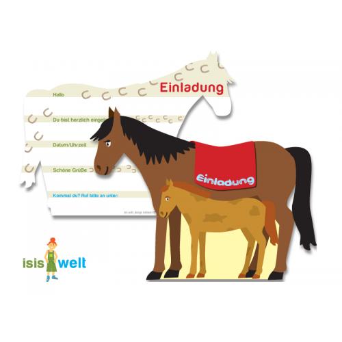 """Einladungskarten """"Pferd & Fohlen 6er Pack online kaufen"""