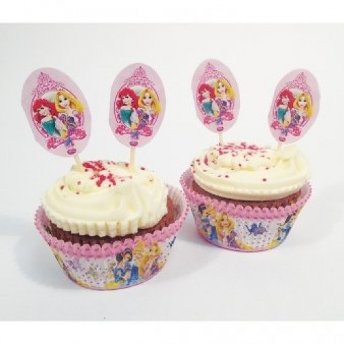 Party Cup Cake Set, mit 24 Förmchen und 24 Deko-Pickern, Muffindeko-Set Disney Prinzessin