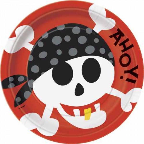 Pappteller Ahoi Piraten - 8er Pack - Partyzubehör online kaufen