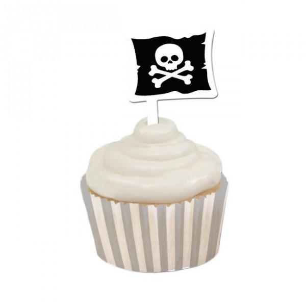 Banderolen mit Deko für Piraten Muffins