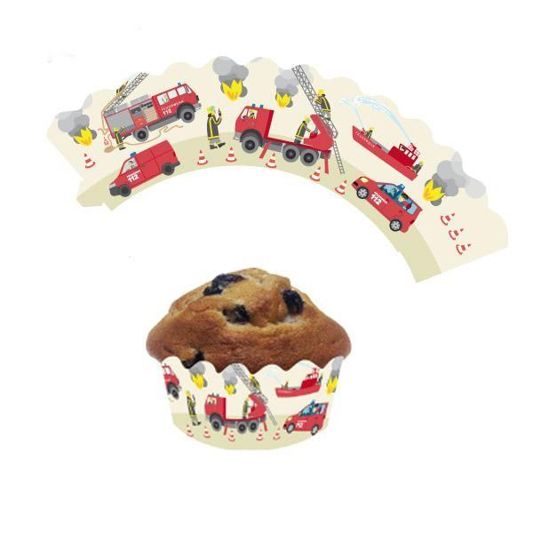 """12 Deko-Banderolen für Muffins und Cupcakes """"Feuerwehr"""""""