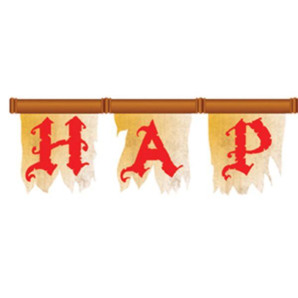Buchstaben Piraten Banner zur Dekoration aus Karton mit Gummiband