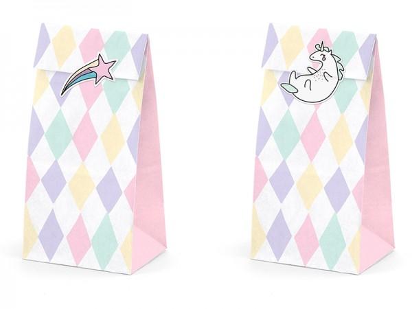 """Papiertüten mit Stickern """"Einhorn"""" - 6 Stück"""