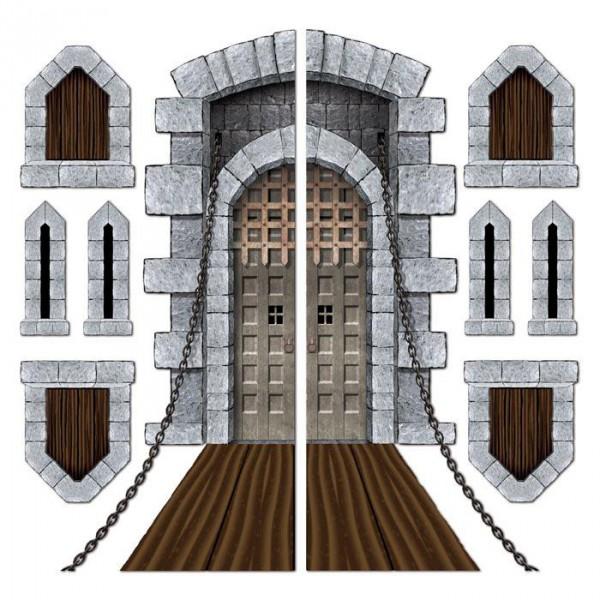 Wanddeko Burgtor, Schießscharten & Erkerfenster 9-tlg