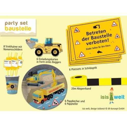 Partyset Kindergeburtstag Baustelle für 8 Kinder - Teller, Becher, Einladungen, Deko