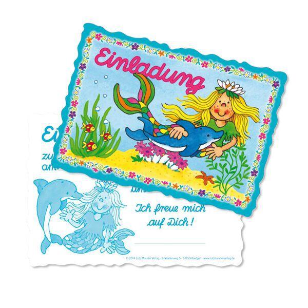 """Einladungskarten-Set Meerjungfrau """"Sina Seestern"""" 8er Pack"""