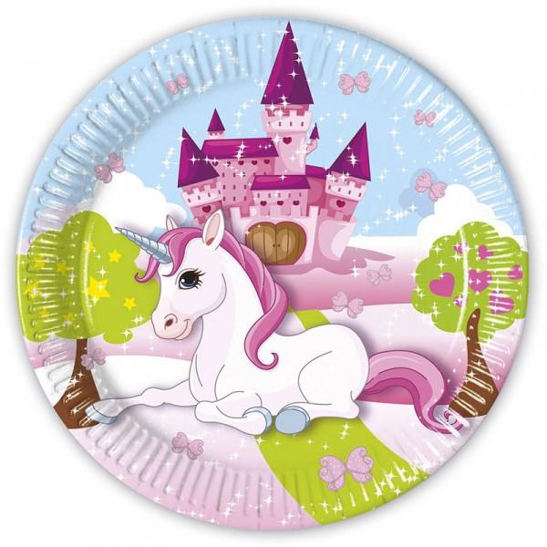 Pappteller Einhorn, 8 Stück -Unicorn Kindergeburtstag Einladung