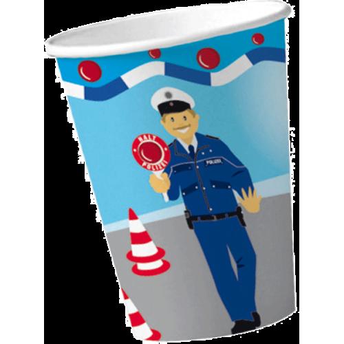 """Pappbecher """"Polizei"""" 8er Pack"""