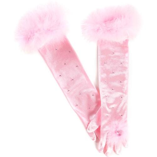 Rosa Prinzessin Handschuhe mit Herzstein Aufnäher und kleinen Perlen besetzt