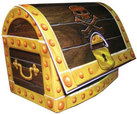 Schatztruhe für Piratenparty aus Pappe als Tischdekoration