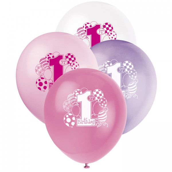 "Luftballons ""1. Geburtstag Rosa Ballons"" - 8 Stück"