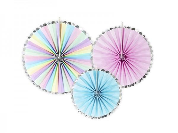 Rosetten-Set - pastell/silber-glänzend - 3-teilig - Wanddeko