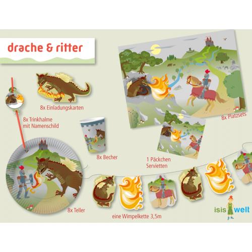 Partyset Ritter und Drache für 8 Kinder 61 Teile