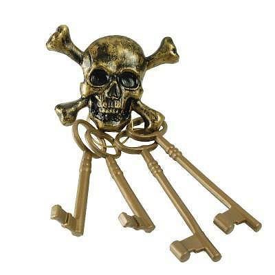 ✔ Piraten Schlüsselbund mit Totenkopf Optik ✔ Schaurige Piraten Party Deko