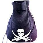 Piratenschatz gut verpackt im Piratebeutel | Ideen zur Piratenschatzsuche